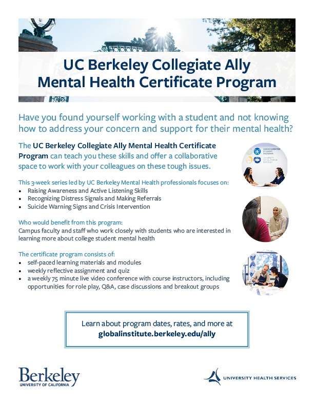 Collegiate Mental Health Ally Certificate Program Flyer